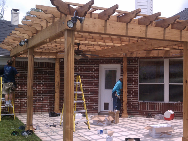 A pergola provides shade and a beautiful space for relaxing or entertaining.