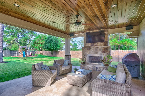What More Perfect Time To Also Install A Luxurious Covered Patio And Outdoor  Fireplace? The Finished Project Features Stunning Wood Ceilings, ...