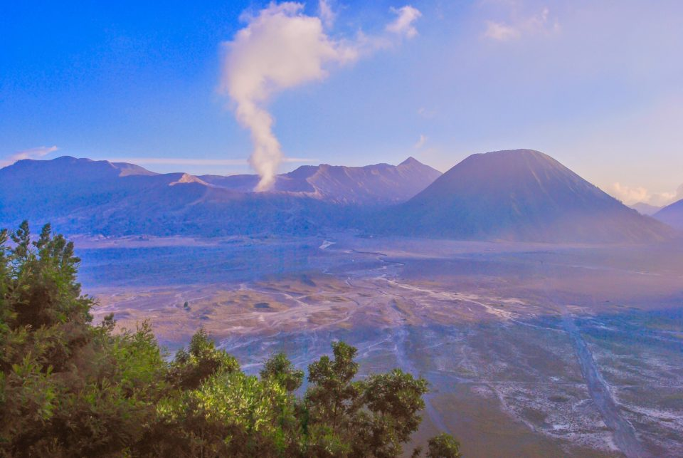 View of Mount Bromo and Mount Batok volcanoes from Cemoro Lawang village