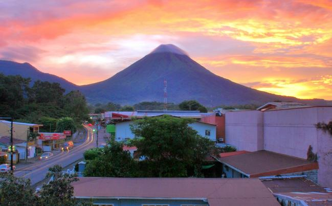A view of Mt Arenal from our patio.