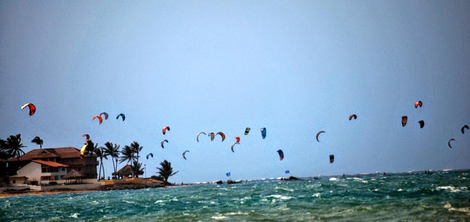 Cabarete Beach with Kite Surfers