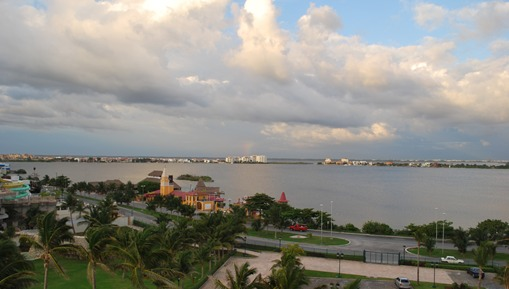 View of Kukulcan Blvd from the Hotel with Lagoon on the other side