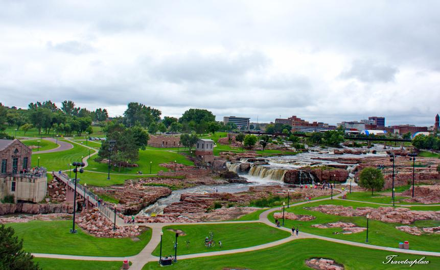 A view from the tower. The little building on the left is the Overlook Café. The one in the center of the photo is the Queen Bee Mill