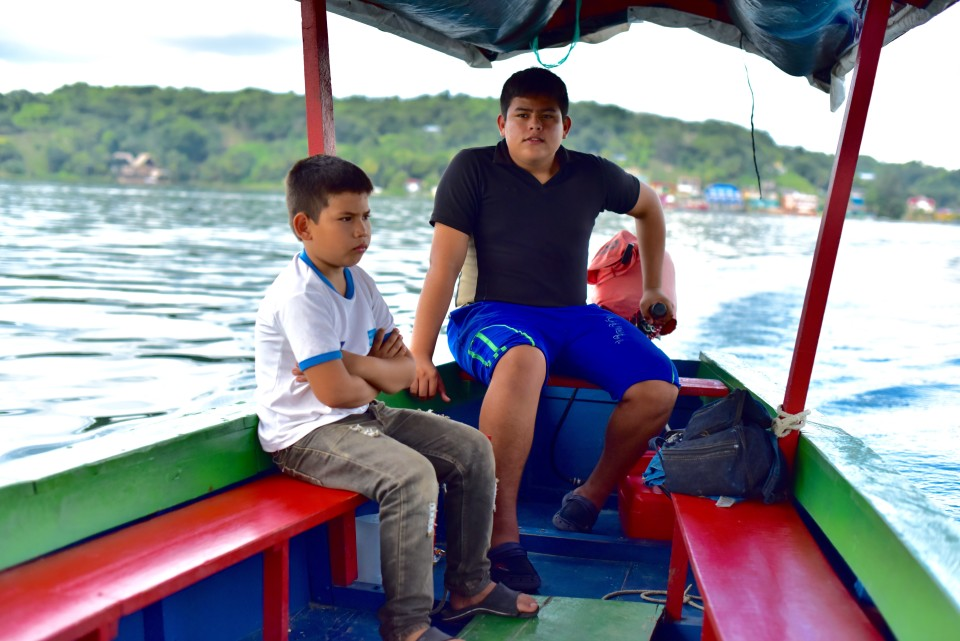 Kids were captaining the boat showing us around the Peten Itza lake