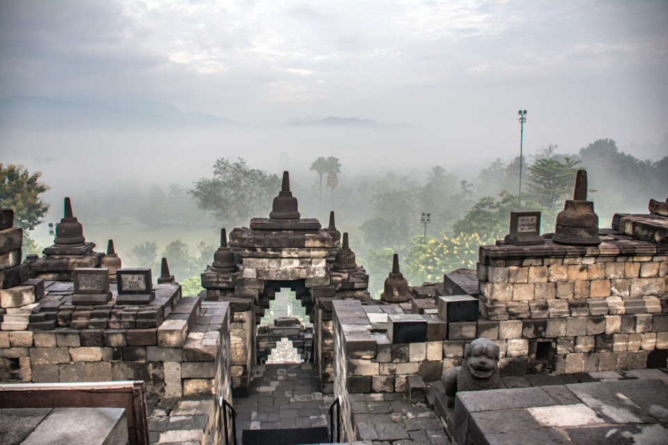 View into the plains on a foggy morning from the top of the temple