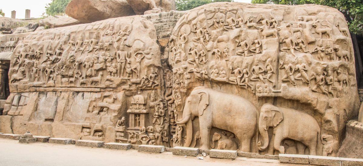 Arjuna's Penance or Descent of the Ganga Bas Relief at Mahabalipuram