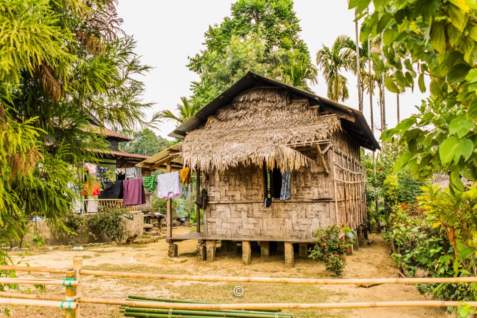 Hut in the village of Mawlynnong