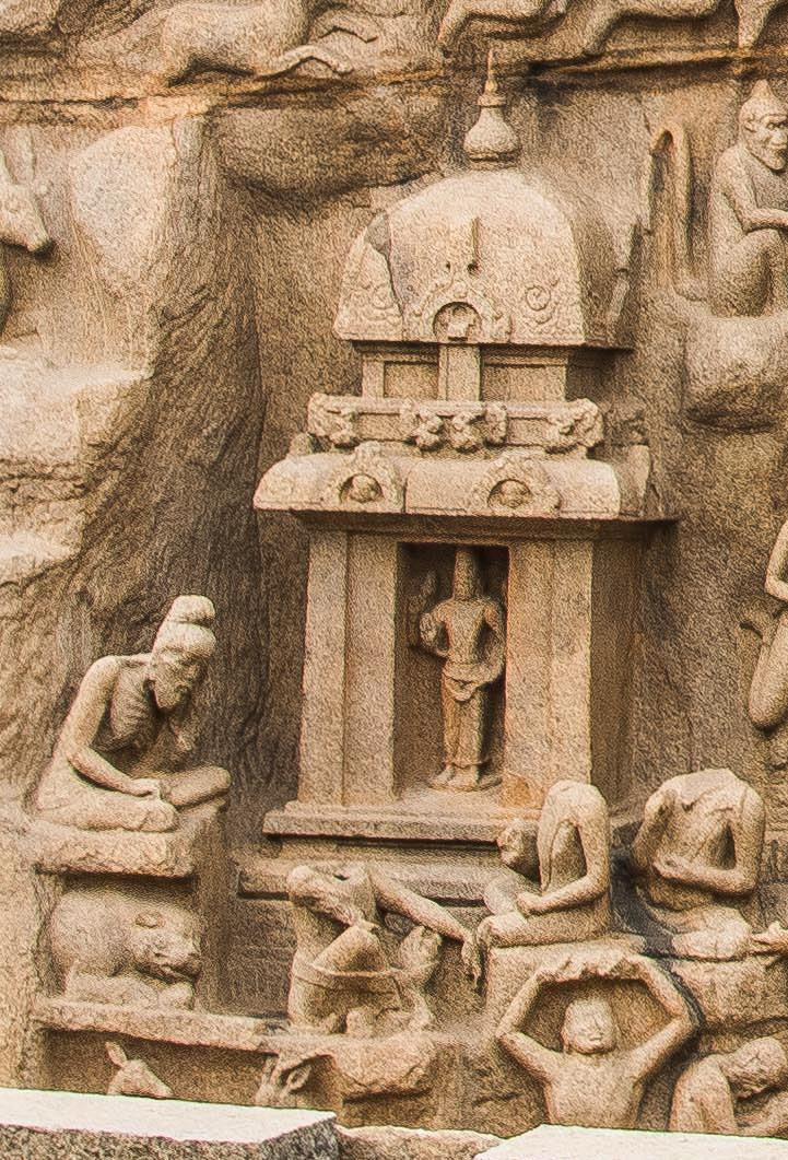 On left - headless wit Yoga Patta - Narasimha Varma Pallava - on right 2 headless people - Mahendra Varma Pallava and SimhaVishnu in front of Vishnu. Arjuna himself on left above Narasimha