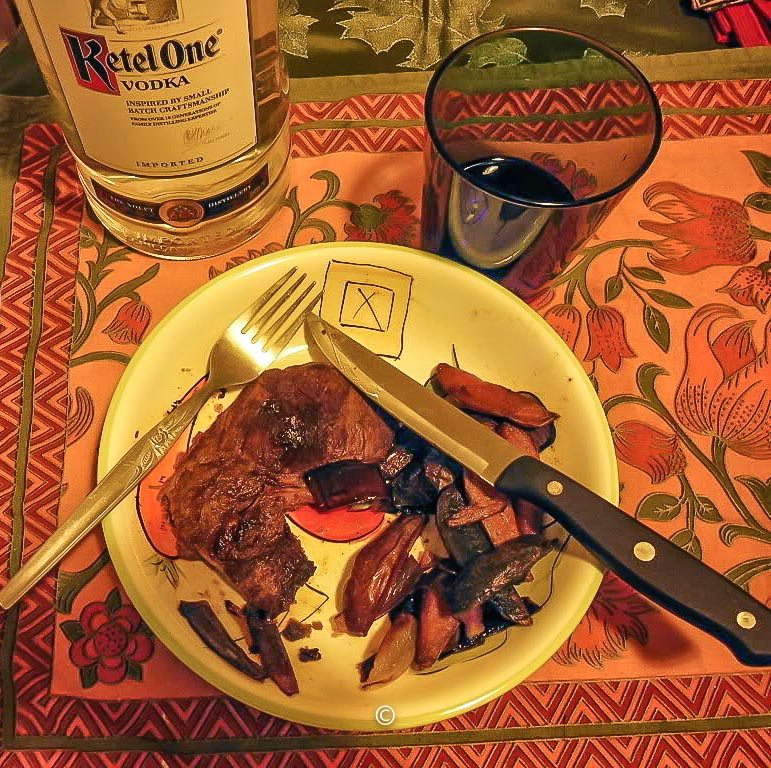 Vodka with Venison steak and fingerling potatoes