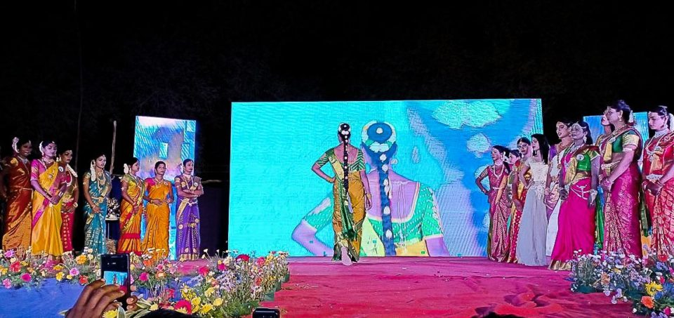 Ramp walk as part of the pageant at Koothandavar festival