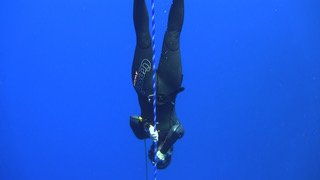Freedive swimming down