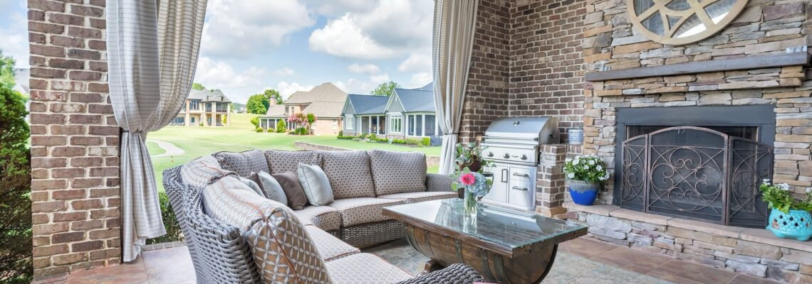 Outdoor living area with drapery