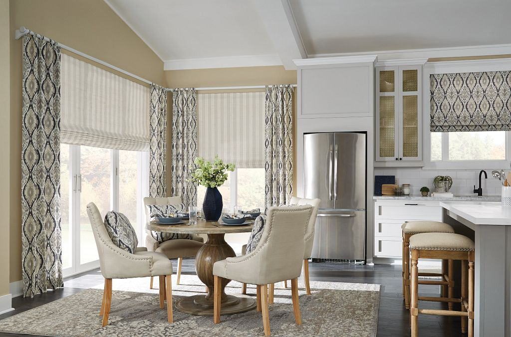 Kitchen and breakfast room with drapery and roman shades