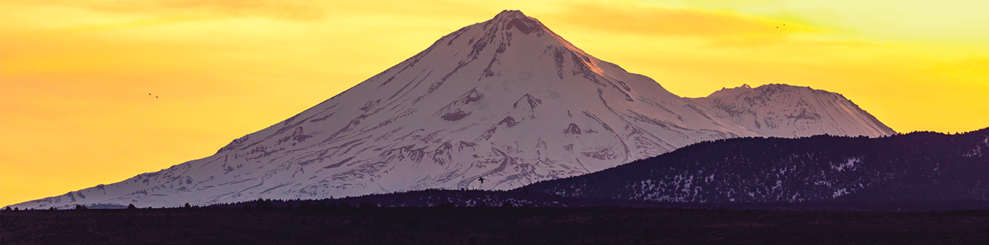Driving along the Volcanic Legacy Scenic Byway, with Mt. Shasta looming in the dusk.