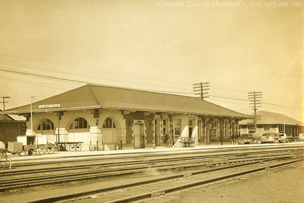 Historic photo of the Amtrak station with old stone in Klamath Falls.