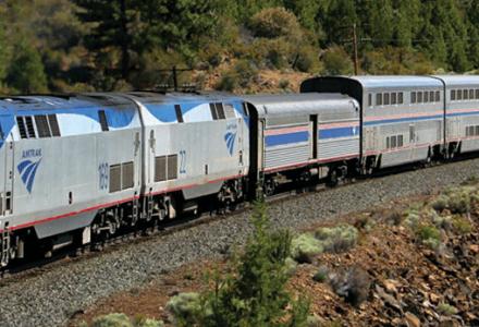 Amtrak Coast Starlight on the train tracks on it's way to Klamath Falls, Oregon.