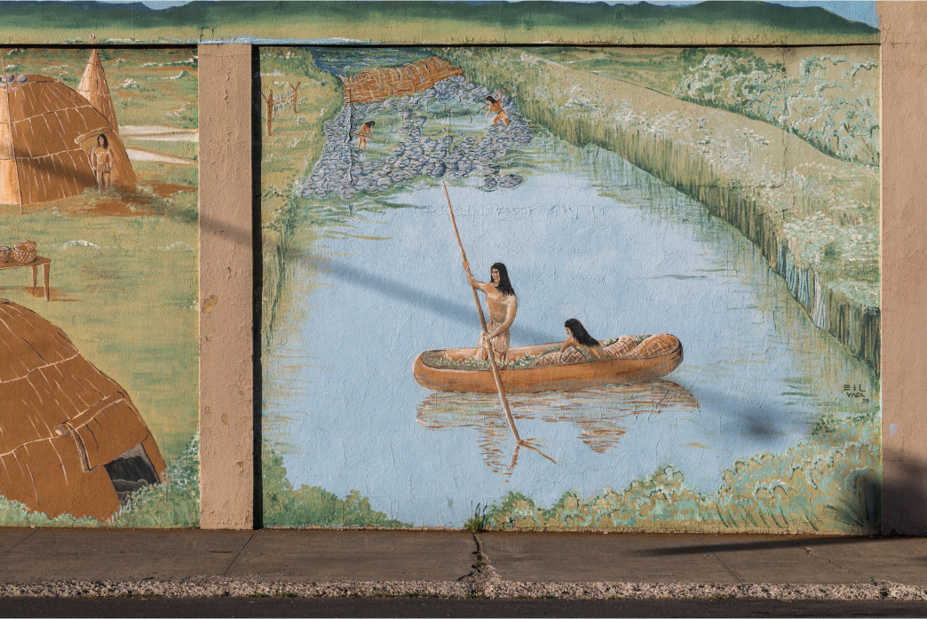 Painted mural of Eulalona Fishing Village located in Downtown Klamath Falls.