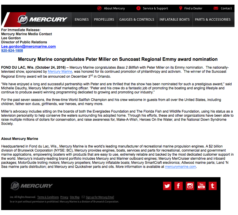 Mercury Marine press release