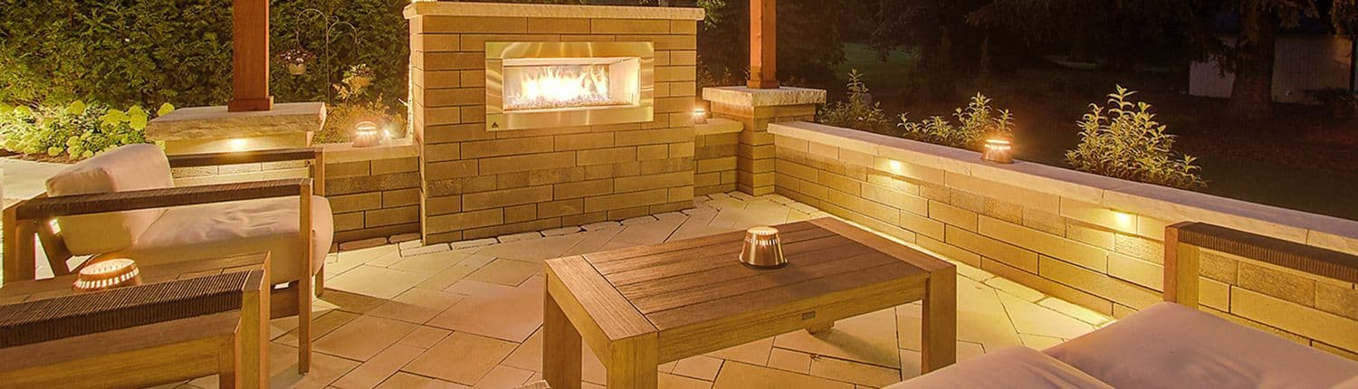 Night Patio With Lighting & Fireplace