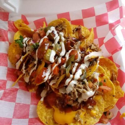 Tex-Mex meets hillbilly in a glorious take on tacos, nachos, bbq, and more.