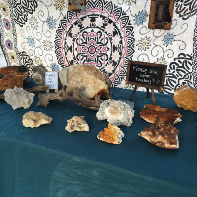 handmade jewelry, dreamcatchers, earrings, paintings plus gems and minerals.