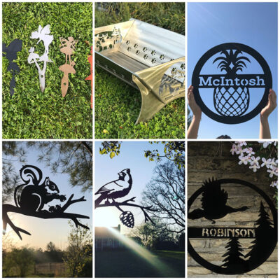 Custom steel signs, tree/garden stakes and fire pits.