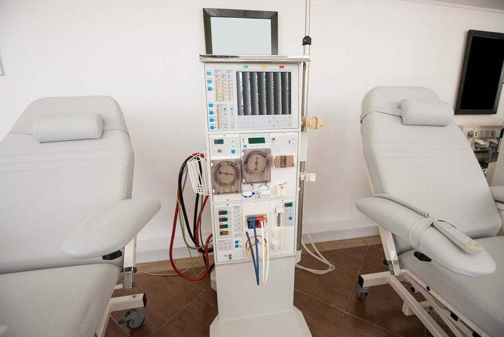 Dialysis Machine And Beds Inside Mobile Dialysis Clinic