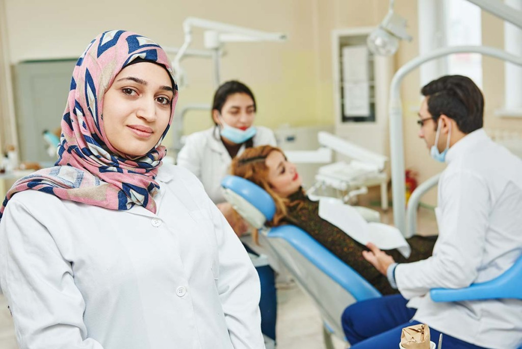 Iranian Dentist Inside Mobile Dental Outreach Facility