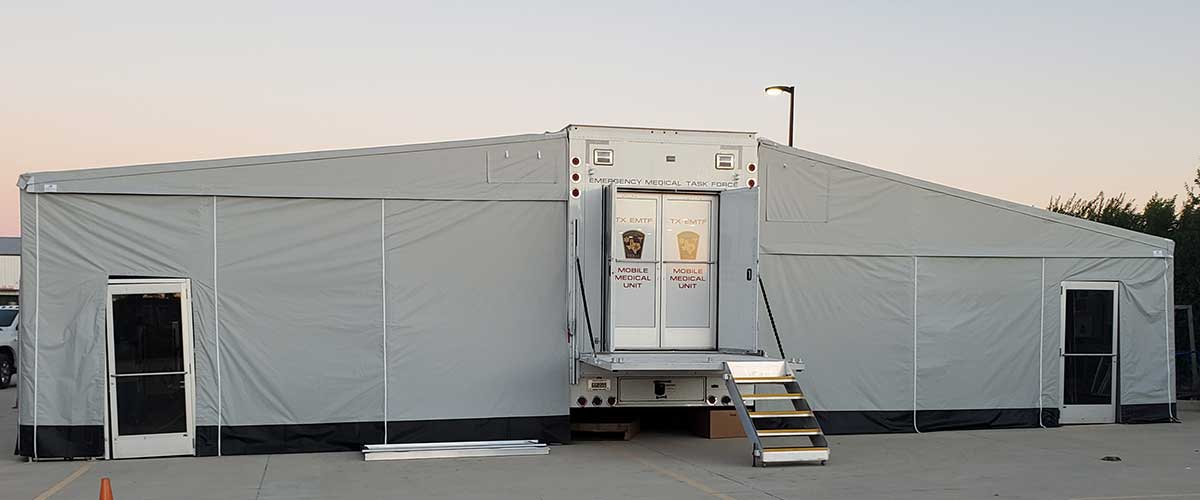 Photo Texas Emergency Covid  Mobile Icu Facility Back View After Install