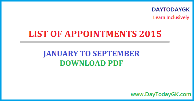 List of Appointments 2015 PDF