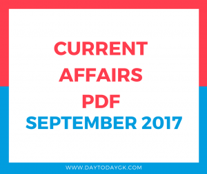 Current Affairs September 2017 PDF