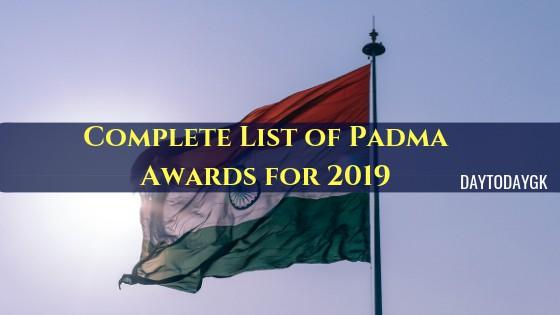 Padma Awards for 2019