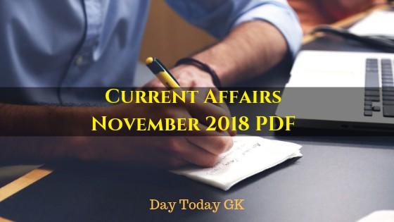 Current Affairs November 2018 PDF