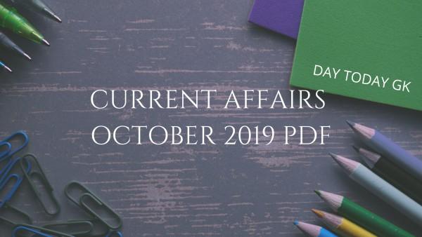 Current Affairs October 2019 PDF