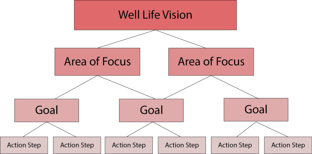 Wellness and Health Coaching - Well Life Vision Diagram