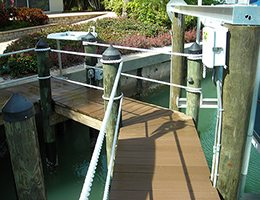 Rope Handrail On Dock