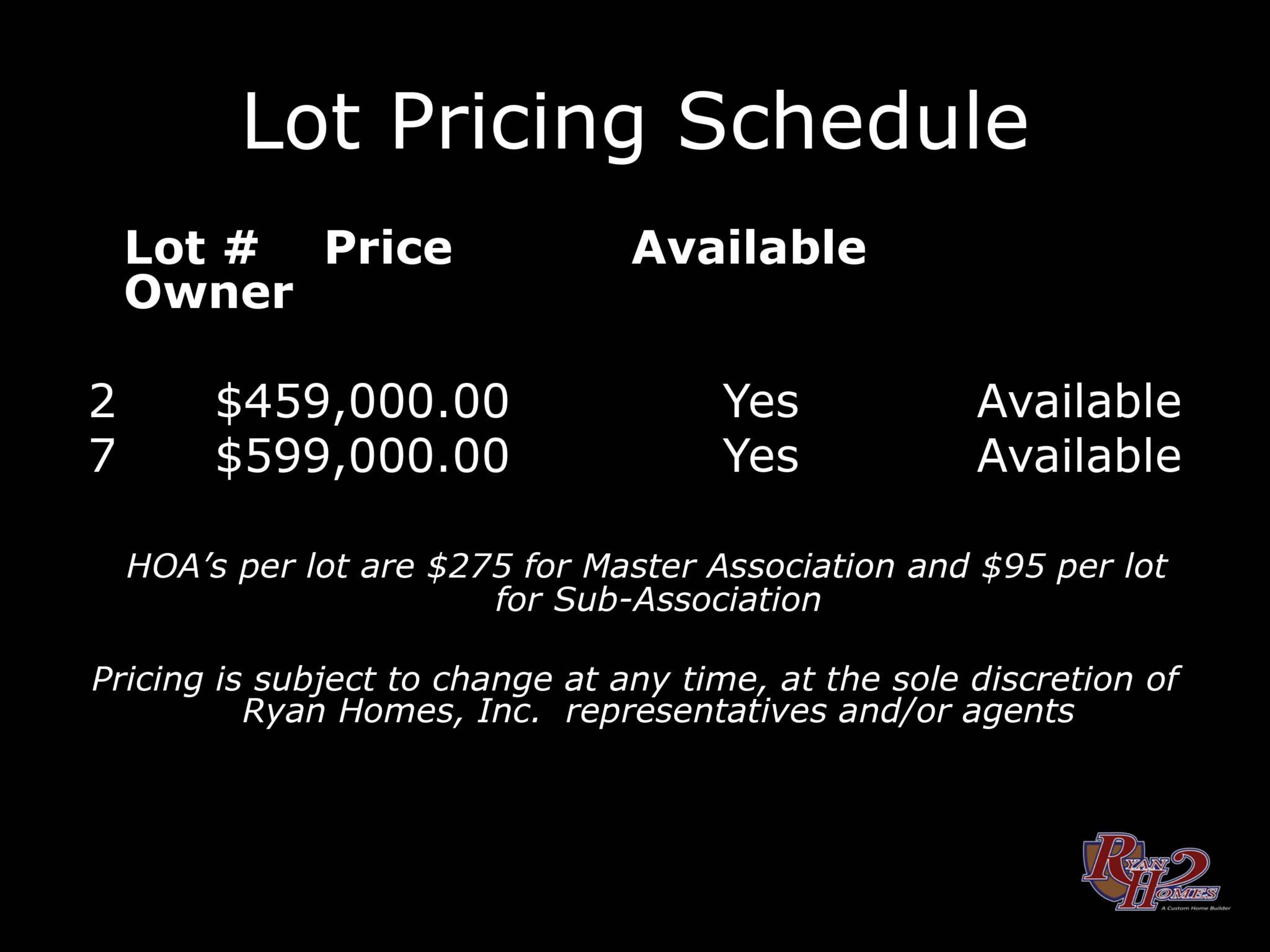11-19-19 Lot Pricing
