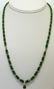 Chrome Diopside rondelles and vermeil with CD cab and diamond pendant.