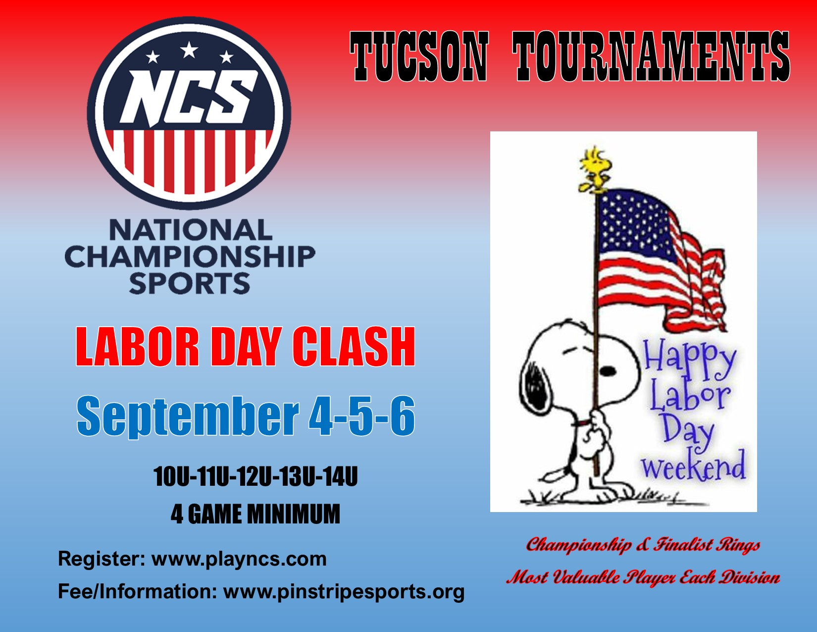 Labor Day Clash 10U, 11U, 12U, 13U & 14U – September 4,5,6, 2021