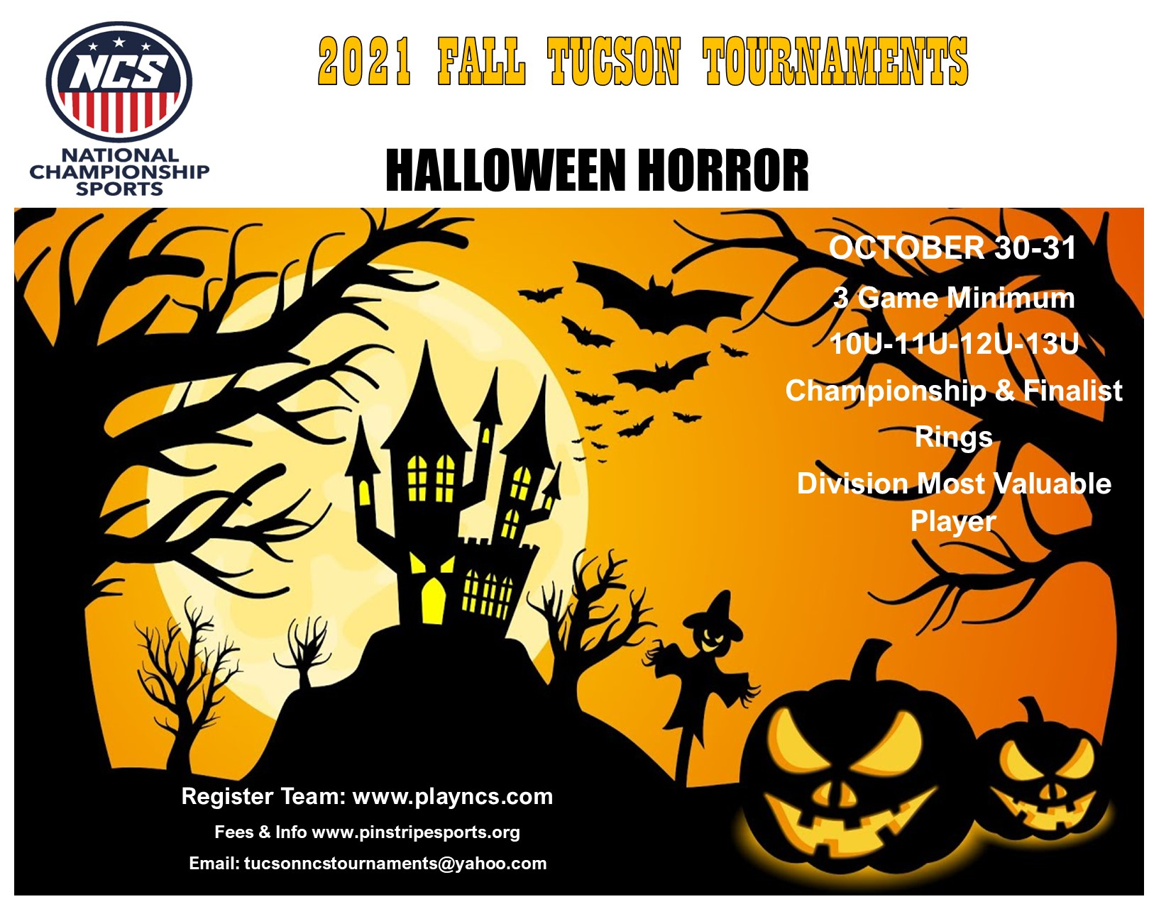 Halloween Horror 10U, 11U, 12U, & 13U – October 30-31, 2021