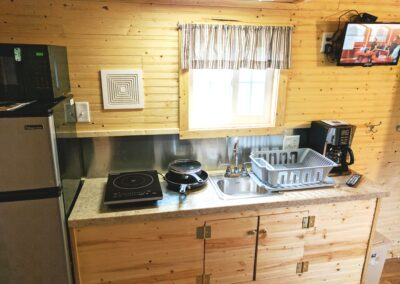 New River Tiny House hotel first floor kitchenette of tiny house