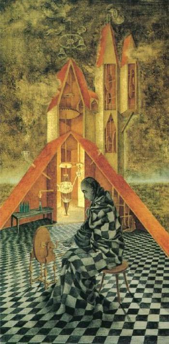 El alquimista, uno de los cuadros más conocidos de Remedios Varo.