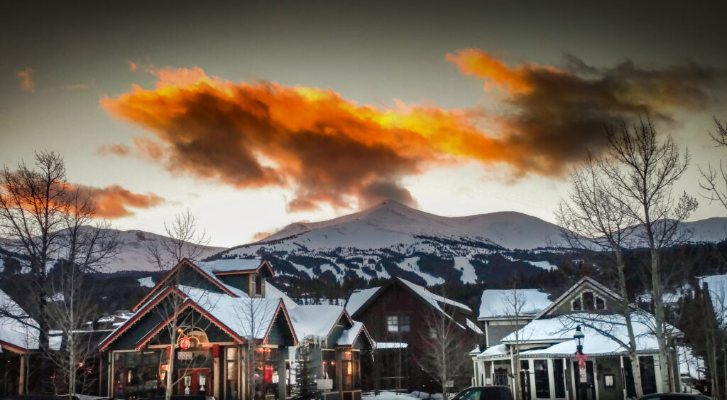 Sunset over the mountains and town of Breckenridge in the winter.