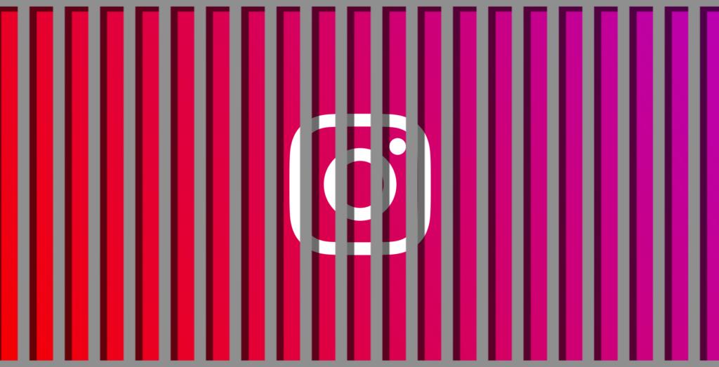 Instagram action blocked ban illustration showing Instagram logo behind jail bars