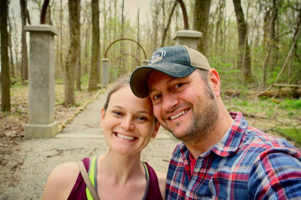 Kat and Andrew selfie at Charlestown State Park in Indiana.