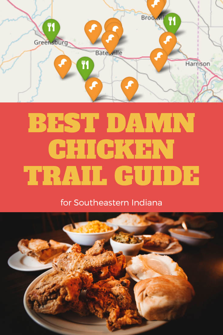 """Pinterest board showing article title """"Best Damn Chicken Trail Guide"""" with a map and pin graphic and fried chicken dinner image."""