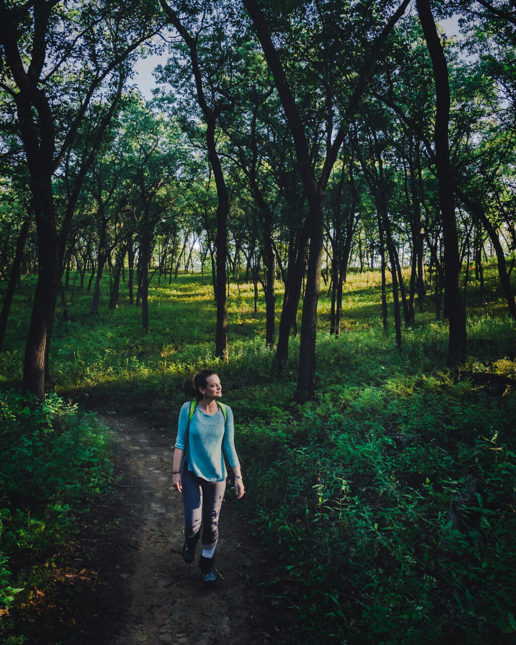 A woman backpacker walks Cowles Bog Trail in a stand of trees at Indiana Dunes National Park.