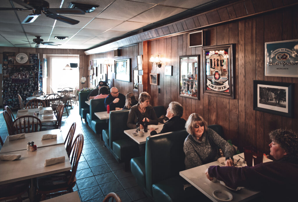 Patrons sit in the main dining room at Wagner's Village Inn.