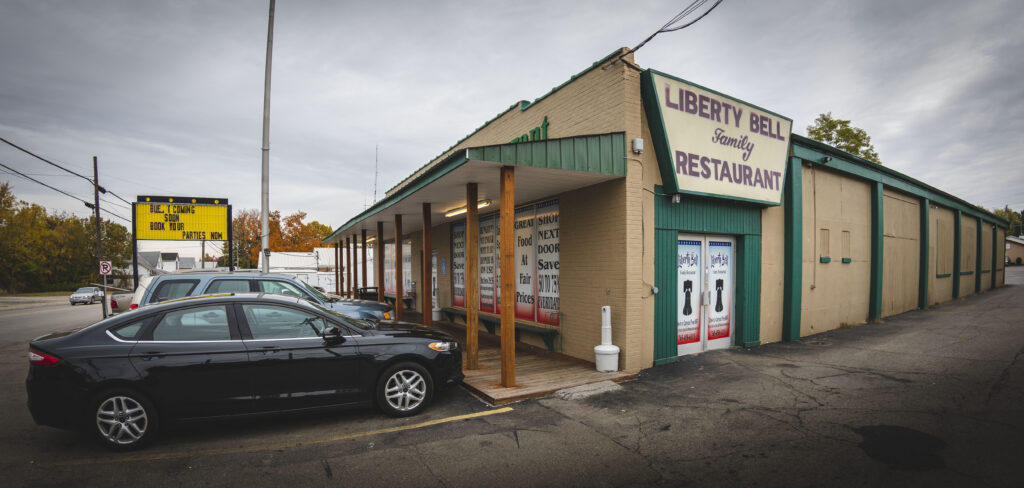 Chicken Trail member Liberty Bell Family Restaurant exterior in Liberty, Indiana.