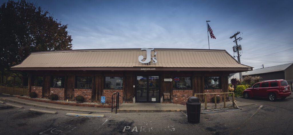 Chicken Trail member J's Dairy Inn exterior facade in Liberty, Indiana.